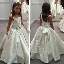 New Ivory Satin Flower Gril's dresses with Lace-up Back Beaded Birthday Girls Pageant Gowns First Communion Dresses for Girls cute mermaid girls pageant gowns lace applique sleeveless lace up flower girls dresses for wedding any size