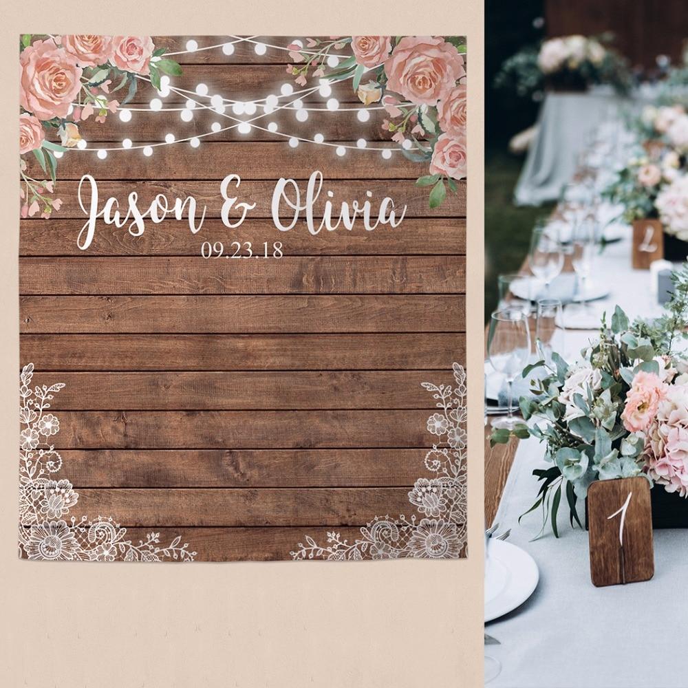 Image 3 - Allenjoy wedding banner backdrop photography wood flower decor signage backdground photocall photophone econ polyester customBackground   -
