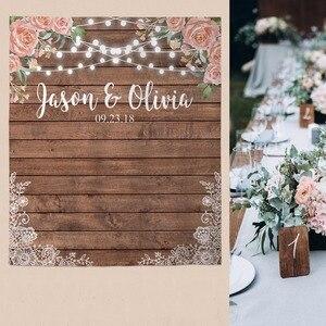 Image 3 - Allenjoy wedding banner backdrop photography wood flower decor signage backdground photocall photophone econ polyester custom