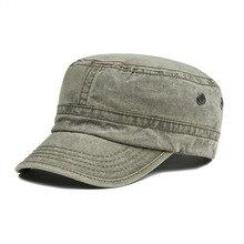 VOBOOM hombres mujeres elegantes sombreros militares verano otoño lavado  algodón ejército gorra plana con orificio de d6cf6a5f1fd