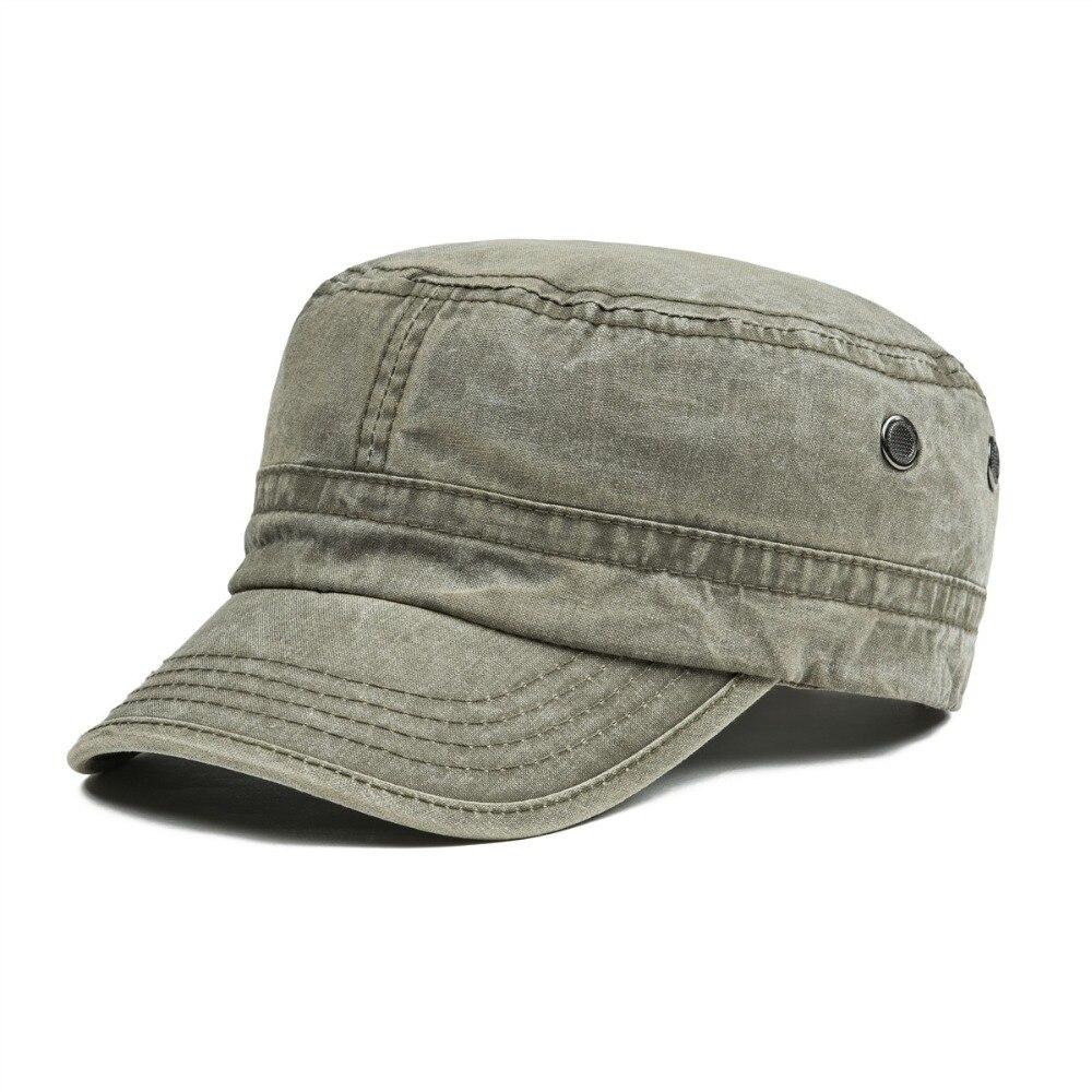 12676dedb4f8 VOBOOM hombres mujeres elegantes sombreros militares verano otoño lavado  algodón ejército gorra plana sombrero con agujero de aire 162