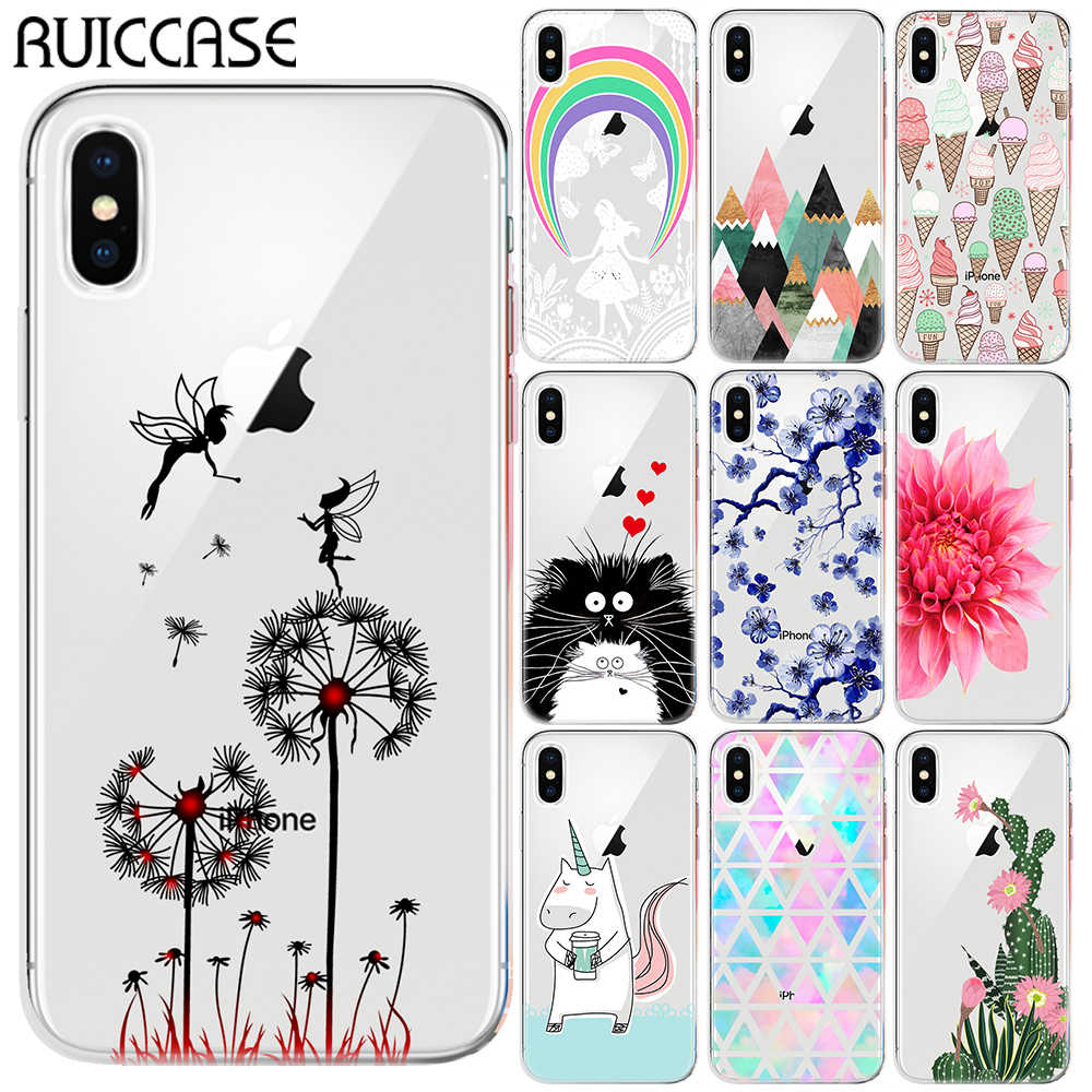 RUICCASE Ice Cream Floral Unicorn Tinkerbell กรณี TPU นุ่มสำหรับ Coque iPhone 11 Pro XS Max XR 5S SE X XS 6 6S 7 8 Plus