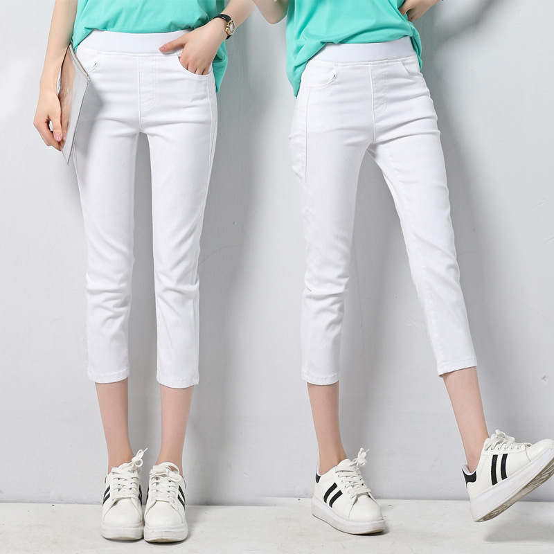 Summer Plus Size Skinny Capris Jeans Woman Elastic High Waist Skinny Stretch White Jean Mom Female Denim Pants Trousers