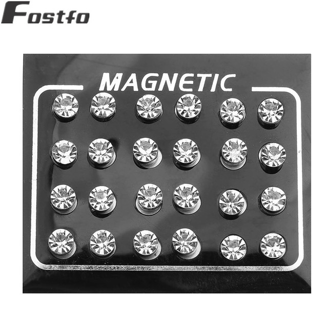 Fostfo 12pair lot Crystal Rhinestone Magnet Stud Earring For Womens Mens 4 5 6 7mm Round.jpg 640x640 - Fostfo 12pair/lot Crystal Rhinestone Magnet Stud Earring For Womens Mens 4/5/6/7mm Round Magnetic Fake Ear Plug Jewelry
