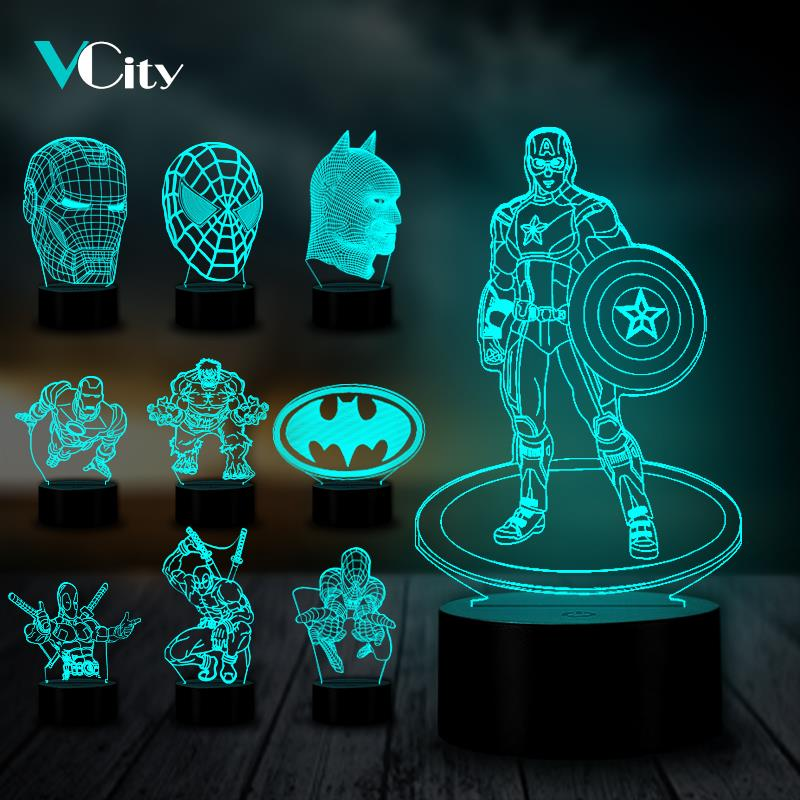 VCity 3D Marvel Night Light LED Luminaria Table Lamp Super Hero Figure USB Lighting Party Friends Gift Captain Iron Man Avenger