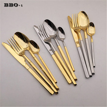 Dinnerware Set 4 pcs Stainless Steel Silver Mirror Polishing Tableware Set Golden Cutlery Knife Scoop Fork Set Western Food Set