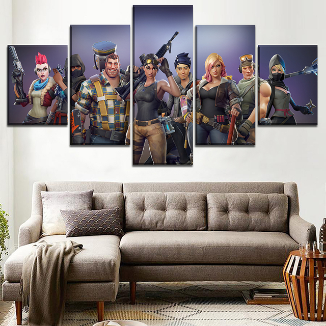 Canvas Printed Pictures Home Decorative Wall Art Framework 5 Pieces Game Fortnite Role Painting Modular Poster For Living Room