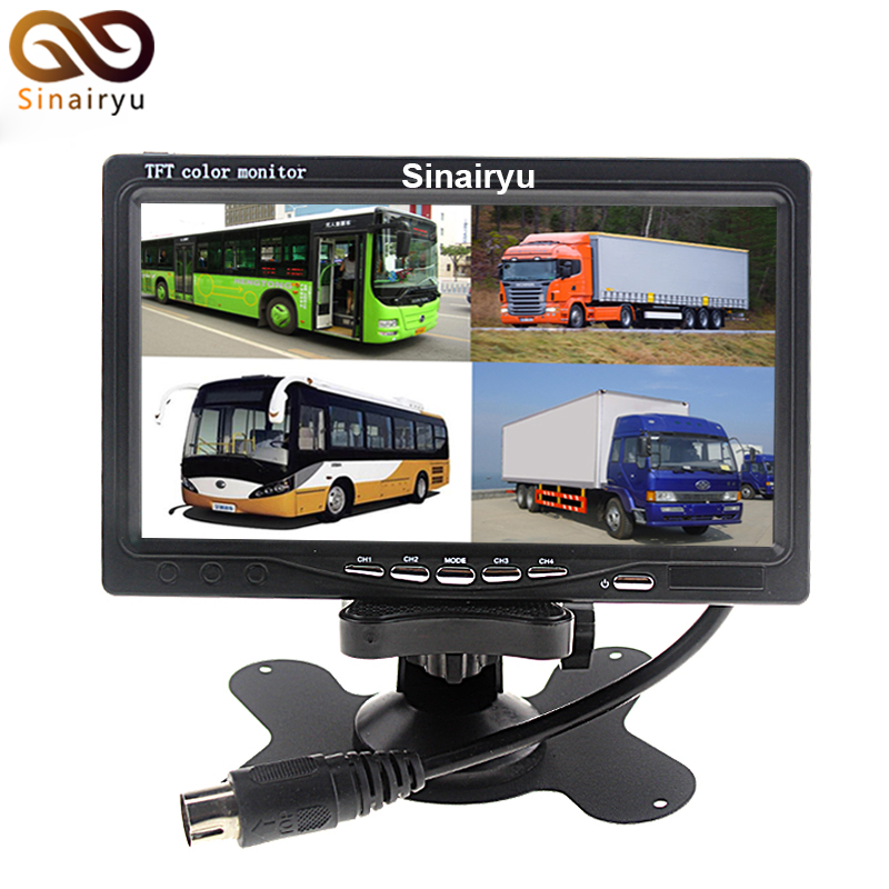 Sinairyu12V 24V 7 LCD Car Parking Monitor With 4CH Video input Monitors Quad Split Screen 6