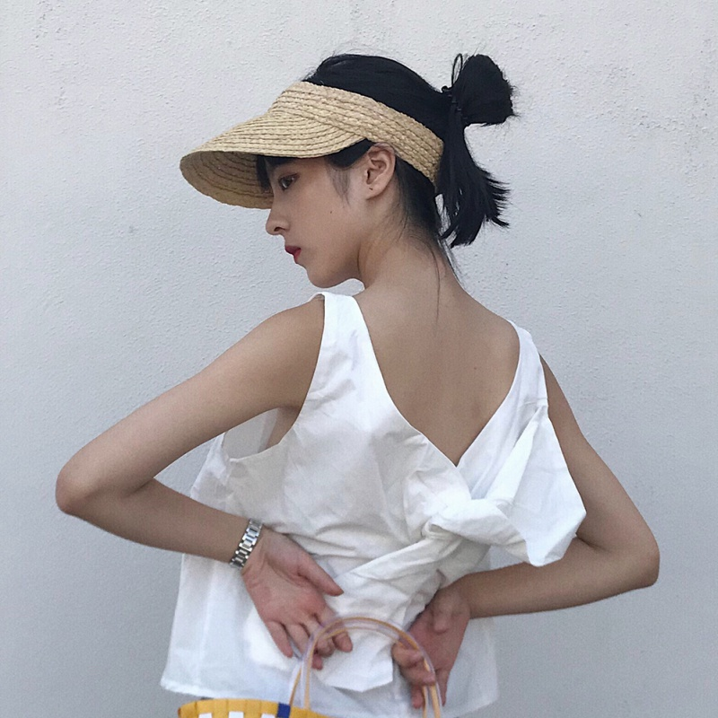 Summer New Sun Beach Hat High Quality Solid Color Raffia Straw Visor Cap For Women Ladies Travel Foldable Sun Visor Hat Fashion(China)