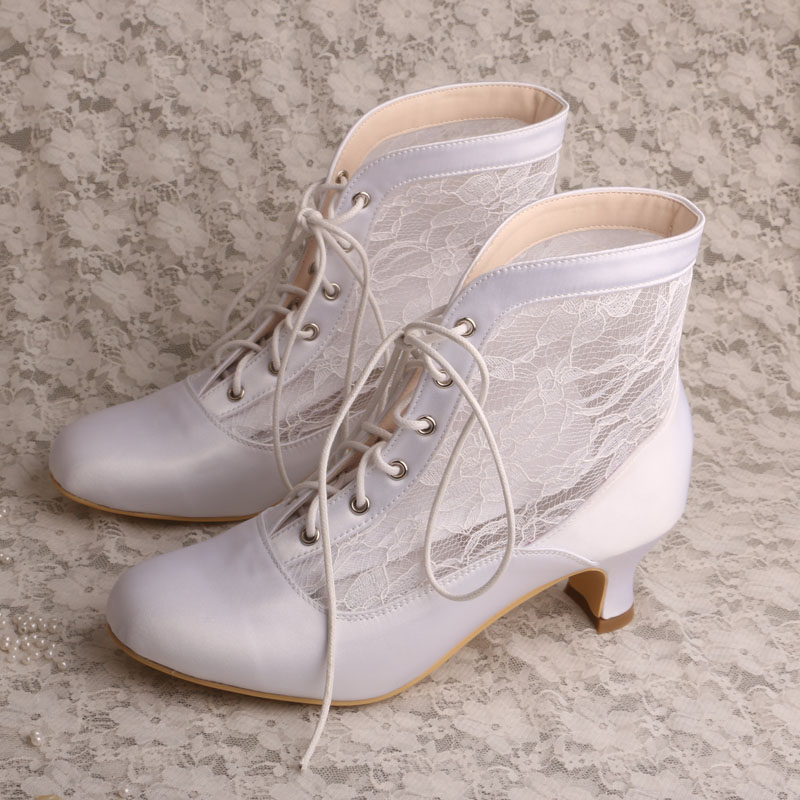Chunky Wedding Heels: Wedopus White Winter Boots Women Short High Chunky Heels