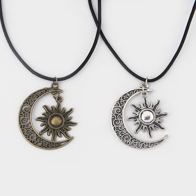 "Fashion Crescent Moon And Sun Charm Pendant Black Leather Boho Colar Hippie Necklace 18"" - 26"""