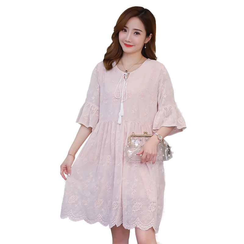 2018 Maternity Clothes Lace Pregnancy Dress Embroidery Formal Loose Maternity Clothing Of Pregnant Women Cotton Vestidos