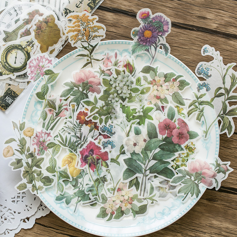 60pc Vintage butterfly flower plant Ancient tools old things Decorative Sticker DIY Scrapbooking photo Label Diary Album Sticker toilet closestool butterfly and flower rattan pattern wall sticker
