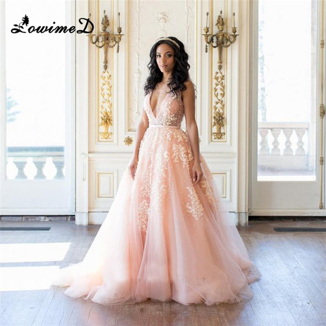 Lowime Light Pink Wedding Dresses African Deep V Neck