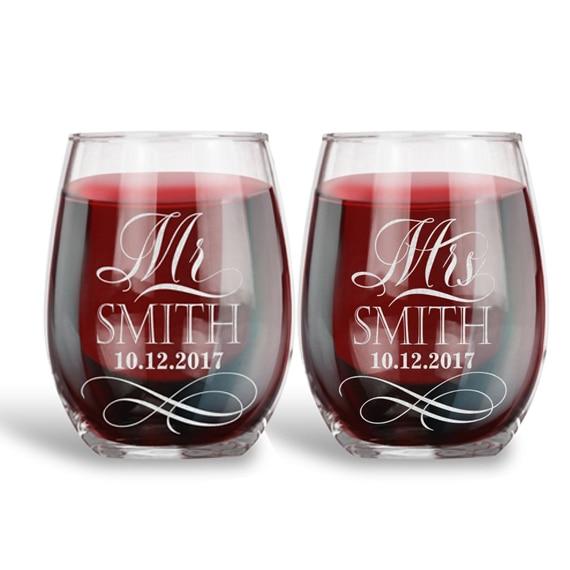 Lot de 2 verres à vin sans tige Mr. Mrs de mariage, faveur de mariage personnalisée mariée et marié graver des verres de grillage de mariage