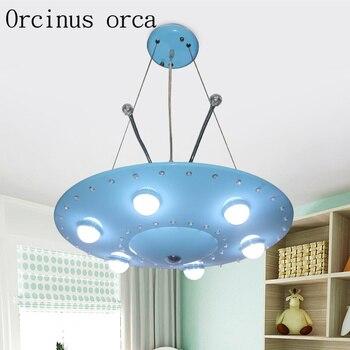Cartoon originalität blau fliegende untertasse kinderzimmer kronleuchter junge schlafzimmer UFO augen LED anhänger lampe freies verschiffen