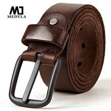 MEDYLA Cinturón de cuero genuino para hombre, Piel de vaca Natural suave, Metal duro, Hebilla negra mate, marrón