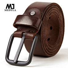 MEDYLA genuine leather belts for men Soft Natural Cowhide Mens Belt Hard Metal Metal Matt Black Buckle Real Leahter brown Belt