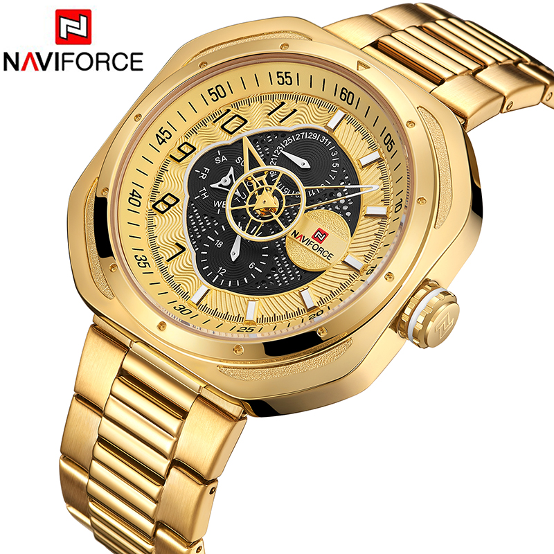Top Luxury Brand NAVIFORCE Men Casual Quartz Watches Stainless steel Band Gold Watch Mens waterproof Clock Relogio MasculinoTop Luxury Brand NAVIFORCE Men Casual Quartz Watches Stainless steel Band Gold Watch Mens waterproof Clock Relogio Masculino