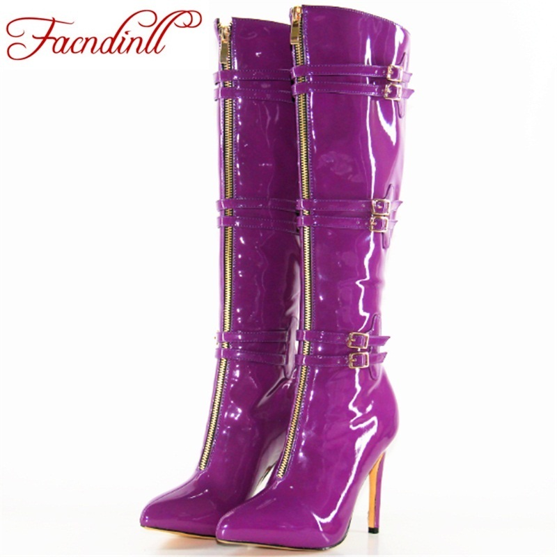 brand shoes autumn winter knee high boots for women sexy high thin heels pointed toe dress shoes woman buckle motorcycle boots morazora 2018 new arrival knee high boots women pointed toe autumn winter boots sequined cloth sexy thin high heels shoes woman
