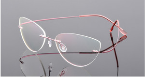 Image 1 - Cat eye kobiety stopu tytanu Rimless okulary dla osób z krótkowzrocznością krótkowzroczne okulary korekcyjne różowy 0.50 0.75 1.25 do  6.00