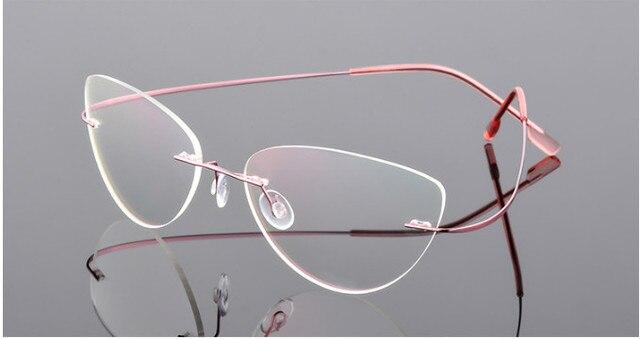 Cat eye kobiety stopu tytanu Rimless okulary dla osób z krótkowzrocznością krótkowzroczne okulary korekcyjne różowy 0.50 0.75 1.25 do  6.00