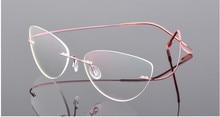 Cat eye phụ nữ Hợp Kim Titan Không Có Vành cận thị kính Cận Thị Kính Kính theo toa kính màu hồng 0.50 0.75 1.25 đến  6.00