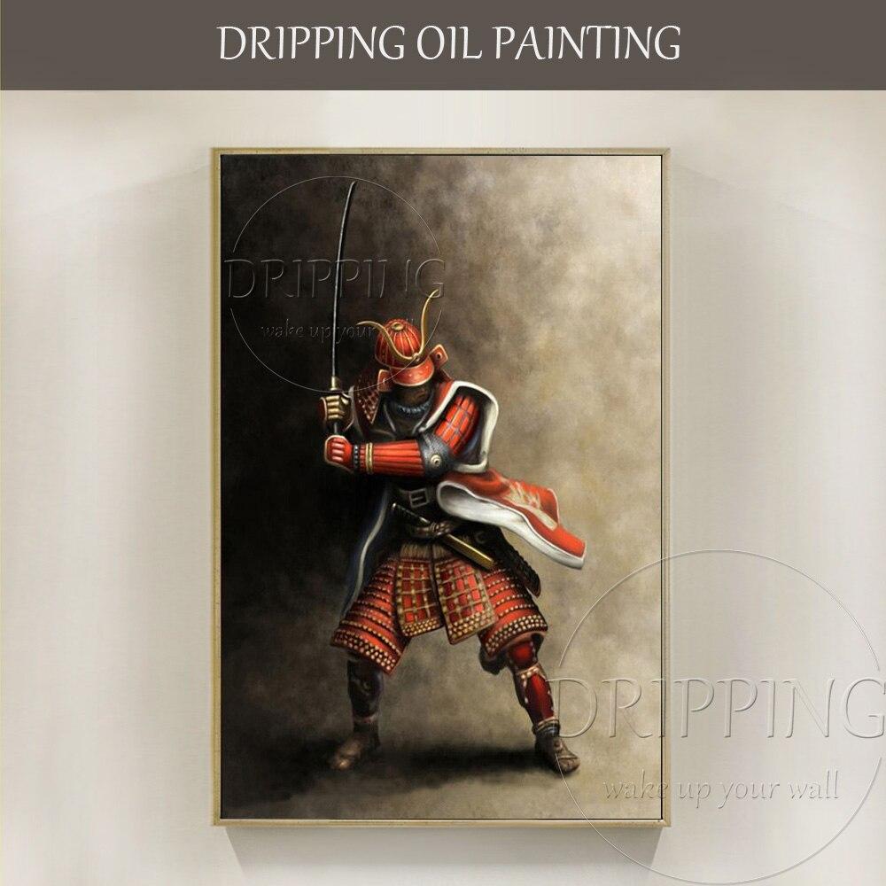 Top Kunstenaar Handgemaakte Hoge Kwaliteit Japanse Samurai Olieverfschilderij Handgemaakte Impressionistische Japanse Samurai Olieverf-in Schilderij & Schoonschrift van Huis & Tuin op  Groep 1