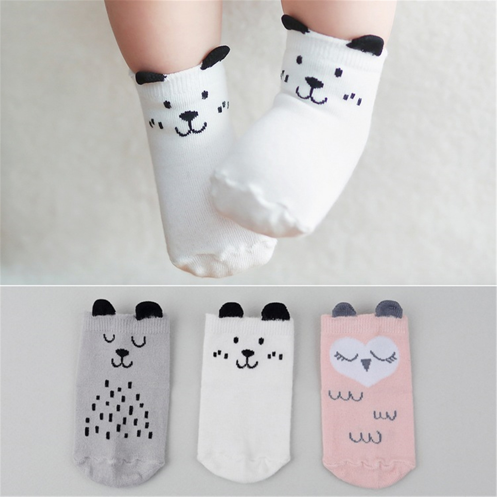 Cartoon Cute Ears Animal Dog Owl Kid Infant Socks Cotton Anti Slip