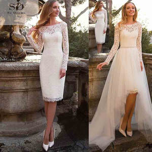 Bride Dress Detachable Train Wedding-Gowns Boho Lace Long-Sleeves Short