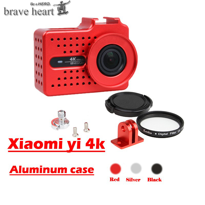 For xiaomi yi 4K camera accessories Aluminium Alloy Metal Housing Frame Protective Case +UV filter for Xiaomi Yi II 4k 4K+camera