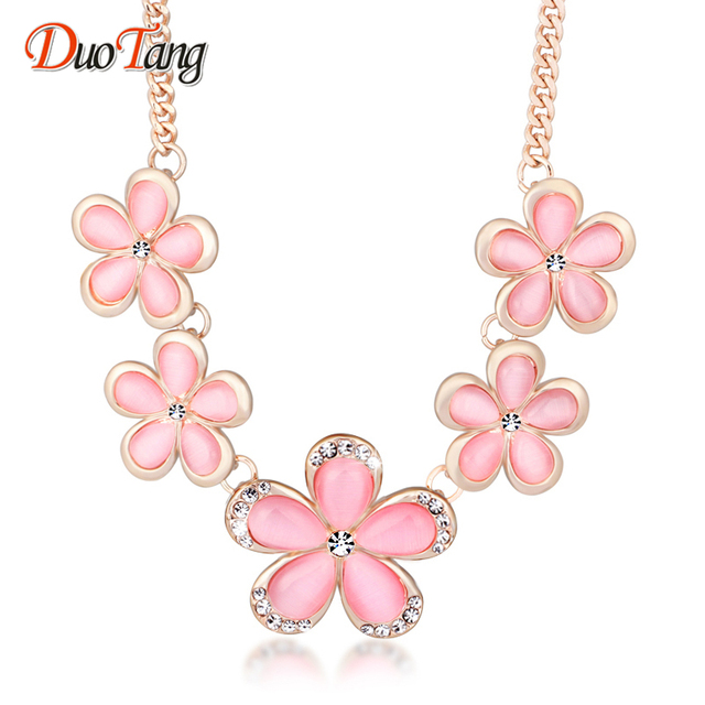 DuoTang Flower Pendant Necklaces Zinc Alloy Pink Opal Rhinestone Link Chain  Chokers Necklaces For Women Jewellry 4533d757cfd4