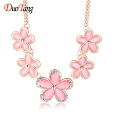 DuoTang Flower Pendant Necklaces Zinc Alloy Pink Opal Rhinestone Link Chain Chokers Necklaces For Women Jewellry X0045