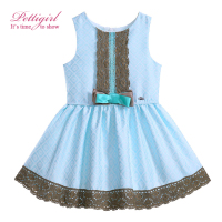 Pettigirl 2017 New Summer Lace Boutique Princess Dress With Bowknot Cyan-Blue Baby Girl Clothes Fashion Costume G-DMGD905-775