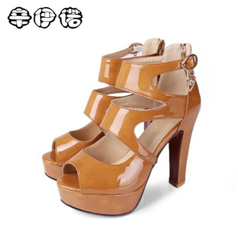 Új női szandál tér magas sarkú platform női cipő fekete cipzár Peep toe PU bőr női esküvői cipő plusz méret 34-50