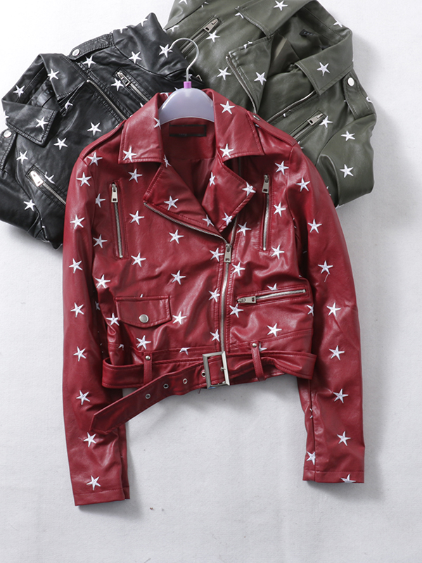 Fashion brand short style stars pattern embroidery pu   leather   jackets female elegant zipper beading   leather   jacket wq1086