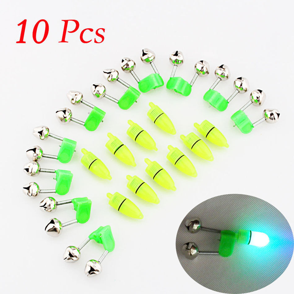 10pcs Outdoor Green Fishing Bell Ring Night Fishing Accessory Rod Tip LED Light Fish Bite Double Alarm Bells