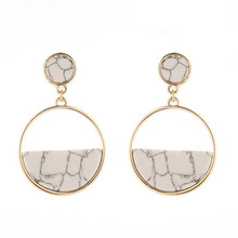 Classic minimalist geometric circular fashion Long earrings Women jewelry earring