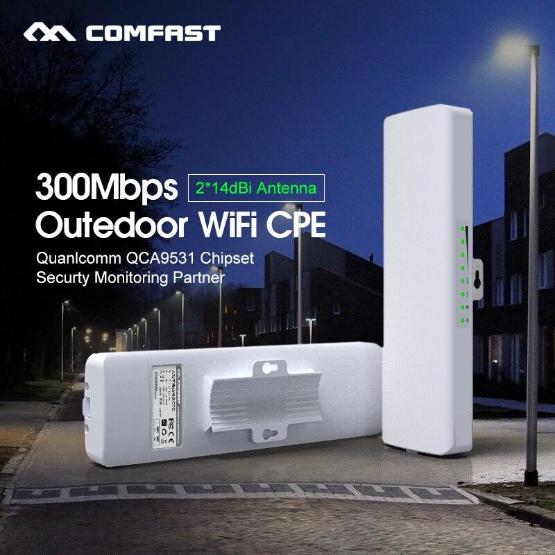 2 pc WIFI Amplificateur de Signal 300 Mbps En Plein Air Intempéries 2 * 14dbi Antenne 48 V POE CPE/Wifi Extender /Point d'accès/Routeur Nanostation