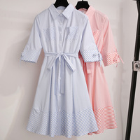 2019 Popular Women's New Victorian Vintage Dress Fashion Casual French Niche Dress Sweet Patchwork Striped Dress Vestidos CK405