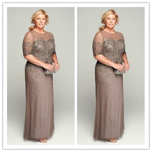 Sparkly Sequins Sheer Neck Plus Size Mother of the Bride Dresses with Half Sleeves Floor Length Groom Mother Evening Dresses