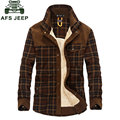 2015 New Winter Men's Slim Fit Warm Dress Shirts Cotton Plus Size Thicken Fleece Shirt Men's Casual Plaid Long-Sleeve M~3XL