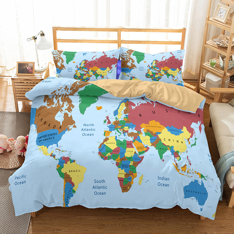 Fanaijia World Map Bedding Set Vivid Printed Blue Bed Duvet Cover with Pillowcase Twill Cozy Home