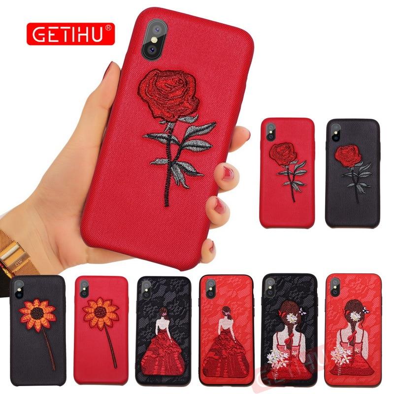 Galleria fotografica GETIHU Embroidery Helianthus Phone Case For iPhone 6 6S 7 8 Plus Cover Coque Luxury Case For iPhone X 10 7 6 8 Plus Cases Capa
