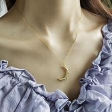 LouLeur 925 סטרלינג כסף קפל אדווה ירח תליון שרשרת זהב creative עיצוב אלגנטי שרשרת לנשים פסטיבל תכשיטים
