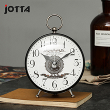 New European retro large clock face fashion personality creative metal alarm student bedside mute