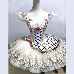 Raymonda Costumes haut italie Beige danse Ballet-robe pour scène fleur décoration, Tulle rigide classique Ballet danse crêpe Tutu