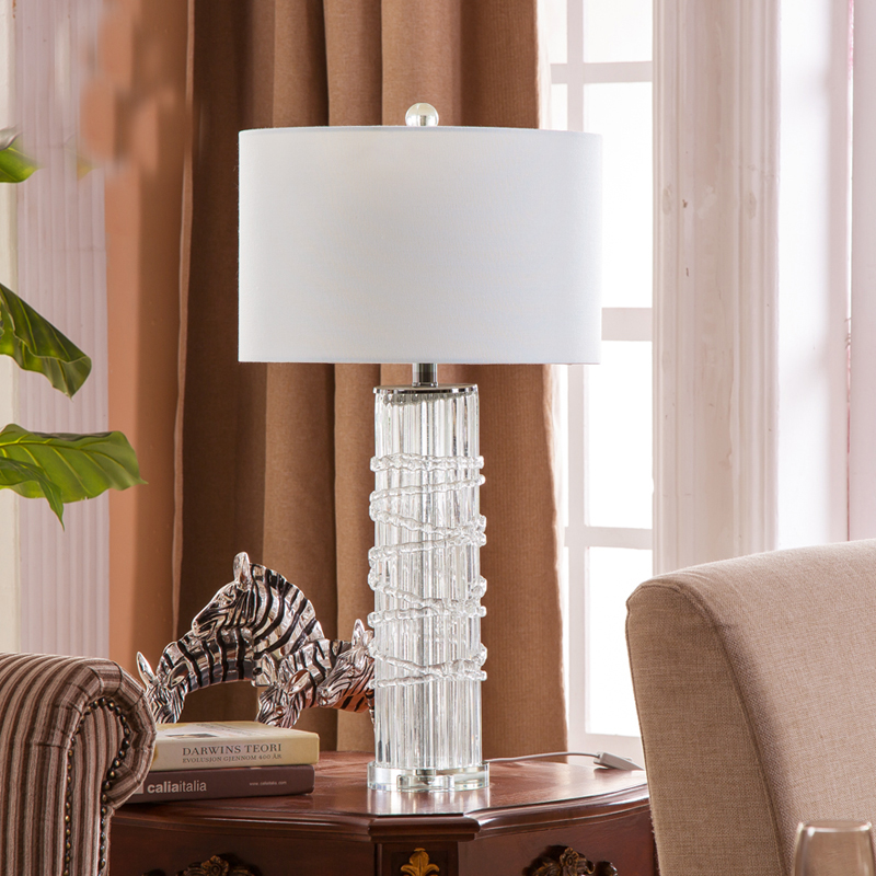 Modern Blue Glass Table Lamp Bedside Crystak Base Lamp ...