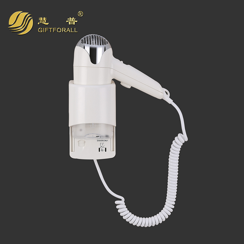 GIFTFORALL White Plastic Hotel Electric Hair Dryer Wall Mount Bath Hair Drier Skin Body Dryer Secador De Cabelos RCY-67290C fixmee 50pcs white plastic invisible wall mount photo picture frame nail hook hanger