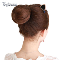 Bybrana Remy Human Hair Chignon 4 Colors Donut Buns Up Do Brazilian Hair Extensions For Women